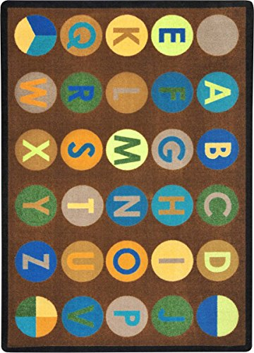 "Joy Carpets Kid Essentials Early Childhood Alpha-Dots Rug, Earthtone, 5'4"" x 7'8"""