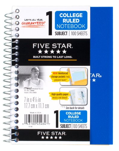 51PlcjsYCWL. SL500  Five Star Spiral Notebook, College Ruled, 1 Subject, 4.38 x 7 Inches, 100 Sheets,  Assorted Colors (45484)