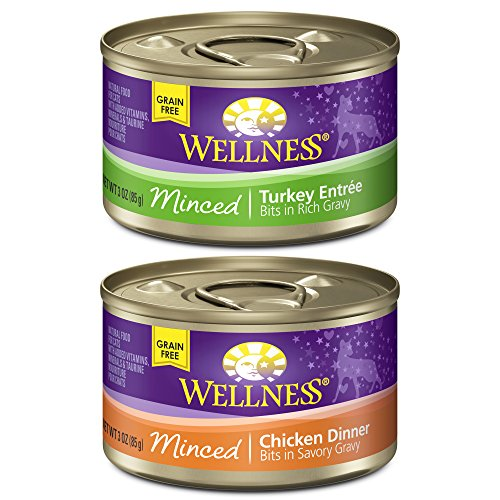 Wellness Natural Canned Grain Free Wet Cat Food, Poultry Pleasers Cuts Variety Pack, 3-Ounce Can (Pack of 30) (Wellness Canned Cat Food Core compare prices)