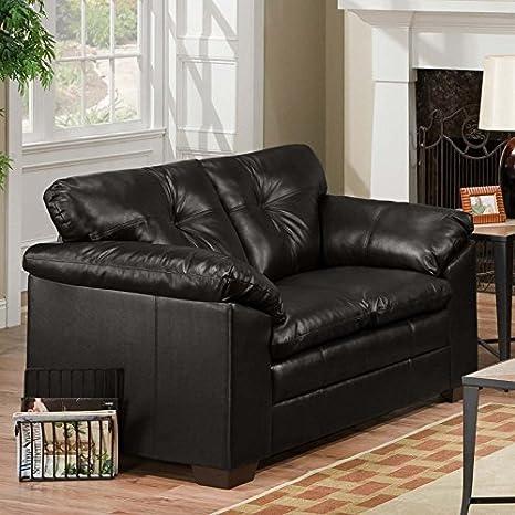 Simmons Upholstery 6569 Sebring Bonded Leather Loveseat Black