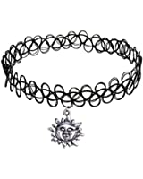 Longil Women Vintage Black Gothic Stretch Elastic Double Line Henna Tattoo Choker Collar Necklace Sun Pendant