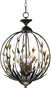Cyan Design 01193 Amber 4-Light Pendant, Autumn Dusk Finish with Amber Crystal Accents
