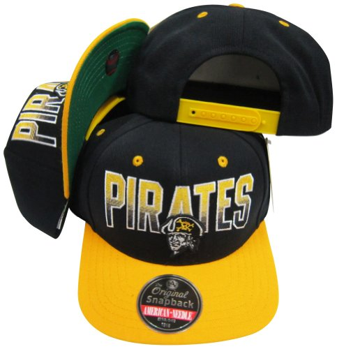 Pittsburgh Pirates Black/Gold Two Tone Plastic Snapback Adjustable Plastic Snap Back Hat / Cap