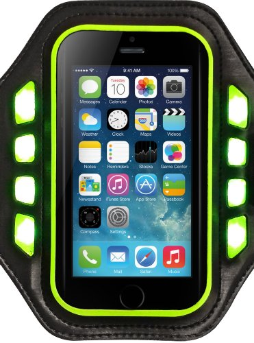Urge Basics Flash Armband With Bright Led Lights, 3 Flashing Modes, For Iphone 4S/5/5S, Samsung Galaxy S3/S4/S5, Htc One, One 2 (M8), Motorola Droid, Moto X - Retail Packaging - Black/Green