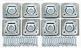 Set of 8 Recessed D-Rings w/ Backing Plates & Hardware Trailer RV Flush Mount Tiedown- 27042
