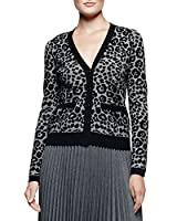 Milly Cheetah Jacquard Cardigan in Black/Charcoal