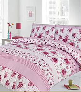 blumen schmetterlinge rosa bettw sche bettbezug 230 x 220 cm 2x kissenbezug 50 x 75 cm. Black Bedroom Furniture Sets. Home Design Ideas