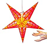 Hanging star lantern without lights - 5 point paper star Yellow Red