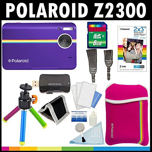 Lowest Prices! Polaroid Z2300 10MP Digital Instant Print Camera (Purple) with 8GB Card + Pouch + Tri...