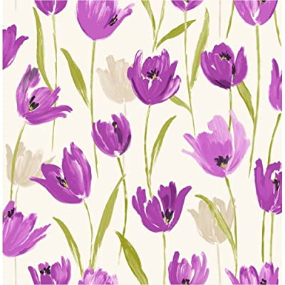 Fine Decor Tulip Floral Wallpaper Purple / Cream / Green