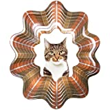 Iron Stop D452-10 Tabby Cat Wind Spinner, Gray