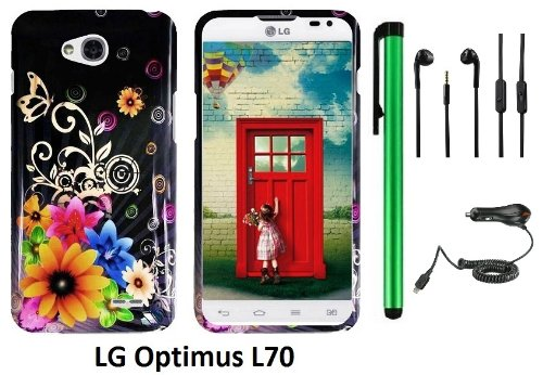 Lg Optimus L70 (Ms323) Premium Pretty Design Protector Hard Cover Case + Car Charger + 3.5Mm Stereo Earphones + 1 Of New Assorted Color Metal Stylus Touch Screen Pen (Yellow Pink Chromatic Flower Black Silver Butterfly)