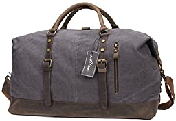 Iblue Weekend Duffle Bag Upgraded Canvas Leather Travel Sports Bag 21 Inch #B008 (XL, grey)