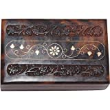 Holiday Gifts Jewellery Boxes for Girls Hand Engraved with Brass Workby ShalinCraft