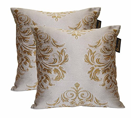 Lushomes Light Grey & Gold Polyester Jacquard Cushion Covers Pack of 2