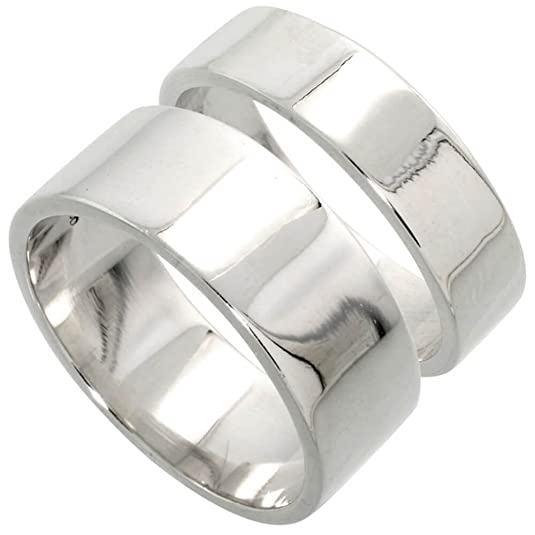 Revoni Sterling Silver Flat Wedding Band Ring Set His and Hers 6 mm + 8 mm sizes H to Z+1,