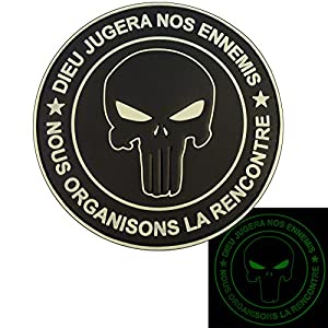 Punisher DIEU JUGERA NOS ENNEMIS Glow Dark All Black Marine Navy Seals DEVGRU PVC Velcro Écusson Patch