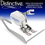 Distinctive Premium Open Toe Even Feed Walking Sewing Machine Presser Foot SA188 with BONUS! Quilt Guide