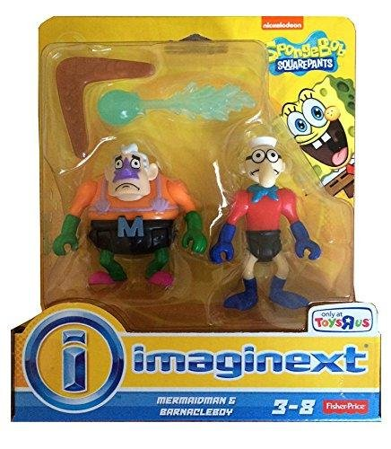 Imaginext, SpongeBob SquarePants Exclusive Figures, Mermaidman & Barnacleboy, 2-Pack