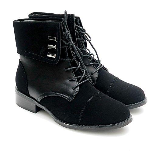 Kayla shoes Damen Biker Boots Winterstiefel Stiefeletten K-12-1 Black 37