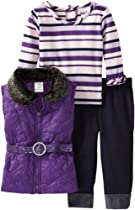 Little Lass Baby-Girls Infant 3 Piece Belted Sequin Puffy Vest Set, Purple, 24 Months