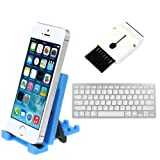 IKross Blue Portable Collapsible Desk Stand Holder with Ultra Slim Silver Bluetooth Wireless Keyboard & Brush for Nokia Lumia 1520/ 1320/ 1020/ 930/ 925/ 920/ 900/ 830/ 820/ 810/ 735/ 720/ 710/ 635 /630/ 625/ 620/ 530/ 520/ 510 and more