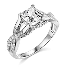 buy 14K White Gold Solid Wedding Engagement Ring - Size 9