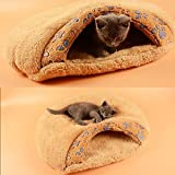 Pecute Cat Sleeping Bag Warm Soft Puppy Cat Kitten Cave Igloo Nest Brown