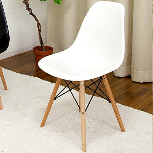 世界で有名なデザイナーズチェア 「イームズチェアー DSW(木脚)」【ホワイト色(白色)】 ウッドベースサイドシェルチェア Eames Chair ダイニングチェア デスクチェアー