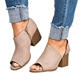 Younsuer Women Low Heel Ankle Booties Slip On Vegan Suede Cut Out Chunky Block Stacked Peep Toe Ankle Boots Shoes