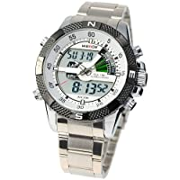 WEIDE Multi-functional Trendy Stainless Steel Mens Quartz Sport Wrist Watch WE081