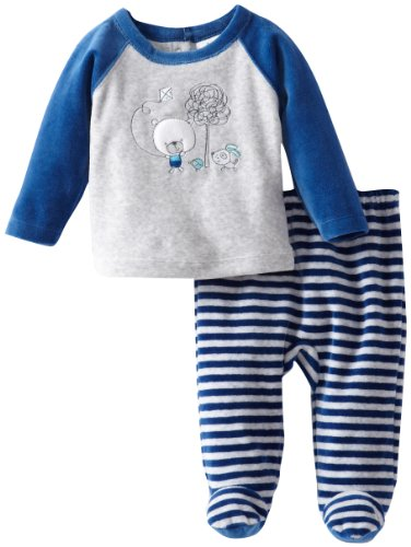Absorba Baby-Boys Newborn Velour Footed Pant Set, Grey, 3-6 Months front-606451