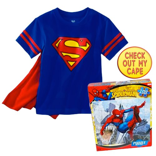 DC Comics Vintage Superman T-Shirt w/ Detachable Cape and Spiderman Puzzle, Size: 2T