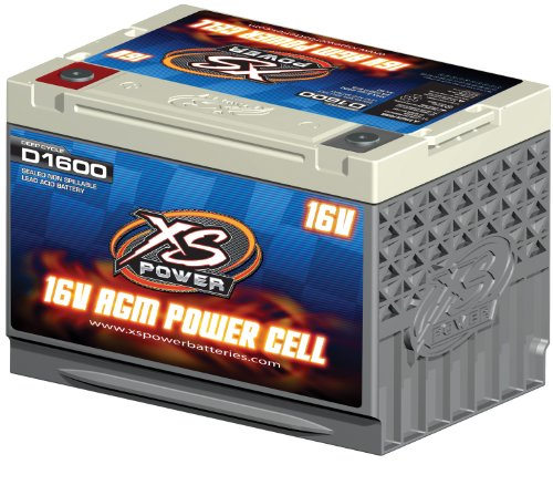 "XS Power D1600 AGM Series 2400 Max Amp 675 Cranking Amp 16V Battery with 3/8"" Stud Adapter and 10.25"" Hardware"