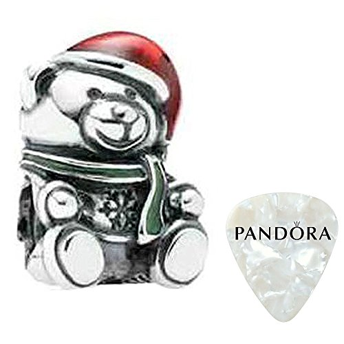 Christmas Bear, Red & Green Enamel Charm, Two Piece Bundle, with Pandora Clasp Opener