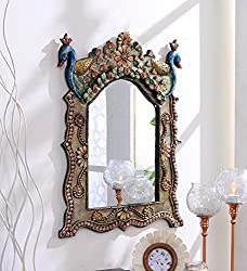 999Store wooden hand crafted handmade painted Decorative Wall Mirror peocock