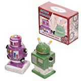 Retro Robot Green and Purple Salt and Pepper Set, Unique Christmas Xmas Gift Ideas, 18th 21st 30th 40th 50th 60th 70th 80th 90th Birthday Gifts, Retirement Thank You Wedding Anniversary Engagement Presents for Her Women Mum Wife Girls Nanna Sister Daught
