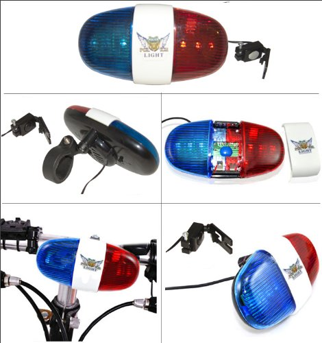 Bright Ideas Red and Blue Police Sound BikerWorldLight Bicycle Power Horn Siren
