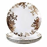 Paula Deen Signature Dinnerware Tatnall Street 4-Piece Dinner Plate Set, Coffee Bean