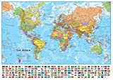 Maps International Large Political World wall map - with flags, Laminated