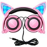 Cat Ear Headphones,MindKoo Flashing Glowing Cosplay Fancy Cat Ear Headphones Foldable Over-Ear Gaming Headsets Earphone with LED Flash light for iPhone 6S,Anroid Mobile Phone - Pink