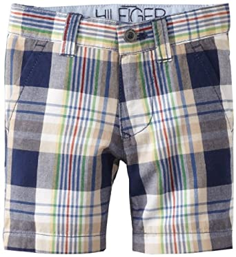 Tommy Hilfiger Boys 2-7 Spencer Plaid FF Short, Flag Blue, 4 Regular