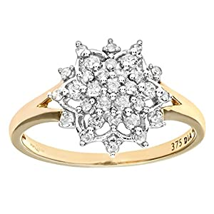 Ariel Women's Diamond Cluster Ring, 9 Carat Yellow Gold, 1/4 Carat Total Diamond Weight