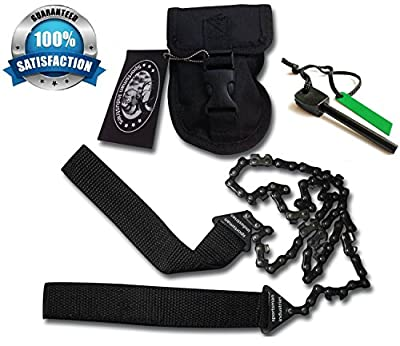 Sportsman Pocket Chainsaw 36 Inches Long With Front Snap Carrying Case And Free Bonus Fire Starter! Our #1 Top Rated Longer Professional Hand Saw Tool is Best for Survival Gear - Camping - Gardening - Hunting - Backpacking - Bug Out Bag - Emergency Kit or