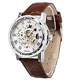 メンズ腕時計 機械式腕時計 手巻き スケルトンタイプ ウォッチ ブラウン+ホワイト+ブルー