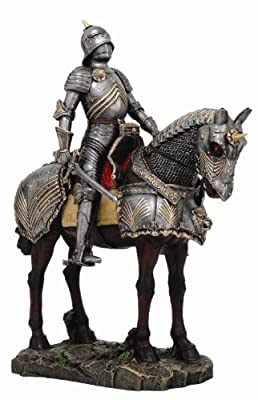 """Large 13""""H Medieval Knight on Calvary Horse Statue Figurine Suit of Armor"""
