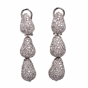 Designer 21.00ct Diamond Cluster Pear 18k Gold Dangle Drop Earrings