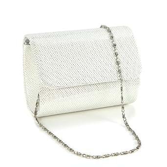 Anladia Petit Sac a Main Pochette en Paillettes Brillant Style Besace Neuf pr Femme Fille Blanc