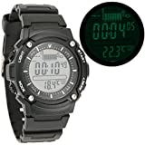Puraid TM SUNROAD Fishing Barometer Watch Altimeter Thermometer Weather Forecast 3ATM Backlight Mens Digital Sports...