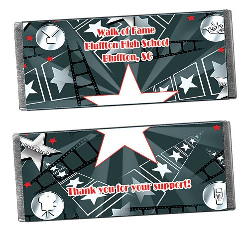 Hollywood Walk of Fame (All Rights Reserved) Personalized Candy Bar Wrappers - Qty 12